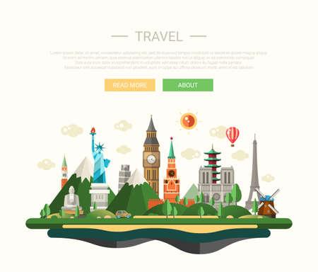 flucht: Vektor-Illustration der flachen Design Zusammensetzung mit berühmten Sehenswürdigkeiten in aller Welt Ikonen