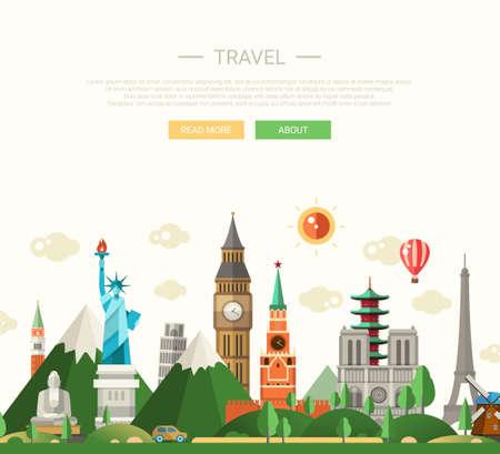 有名な世界のランドマーク アイコンをフラットなデザイン構成のベクトル イラスト
