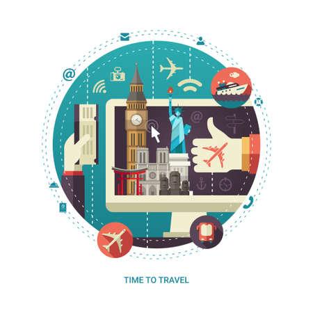 컴퓨터 디스플레이 화면에서 유명한 세계 랜드 마크 아이콘으로 평면 디자인 여행 동그라미 구성의 벡터 일러스트 레이 션