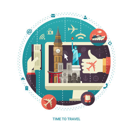world travel: Vector illustration of flat design travel circle composition with famous world landmarks icons on a computer display screen Illustration