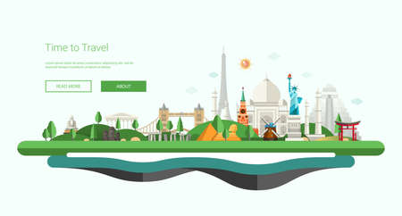 Vector illustration of flat design composition with famous world landmarks icons