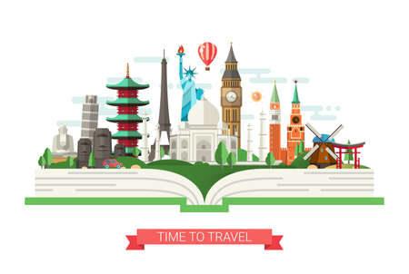 Vector illustratie van platte ontwerp samenstelling met wereldberoemde oriëntatiepunten pictogrammen op een boek