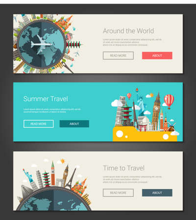 Vector illustration of flat design composition with famous world landmarks icons - banners, headers set Illustration