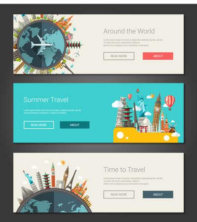 Vector illustratie van platte ontwerp samenstelling met wereldberoemde oriëntatiepunten pictogrammen - banners, headers Stock Illustratie