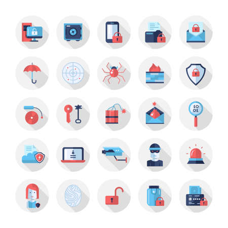 computer crime: Set of modern vector security flat design icons and pictograms. Collection of information protection and safety infographics objects and web elements