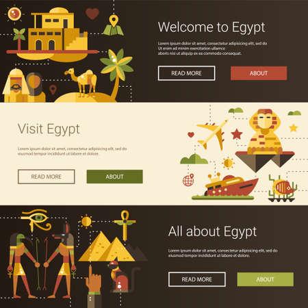 mummy: Illustration of flat design Egypt travel vector banners set with icons, infographics elements, landmarks and famous Egyptian symbols Illustration