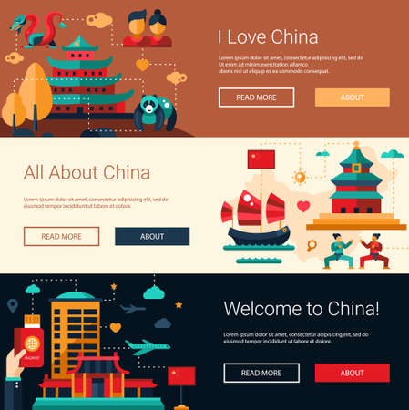 Vector illustratie van platte ontwerp China reis banners set met pictogrammen, infographics elementen, bezienswaardigheden en de beroemde Chinese symbolen