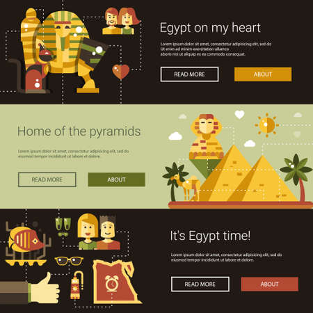 egyptian culture: Illustration of flat design Egypt travel vector banners set with icons, infographics elements, landmarks and famous Egyptian symbols Illustration