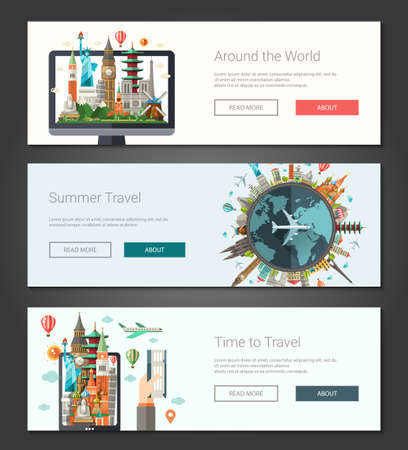 turista: Vector illustration of flat design composition with famous world landmarks icons - banners, headers set Vettoriali