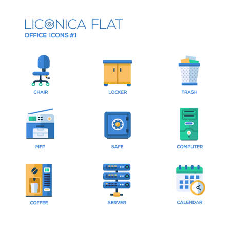 Set of modern vector office flat design icons and pictograms. Collection of business infographics objects and web elements