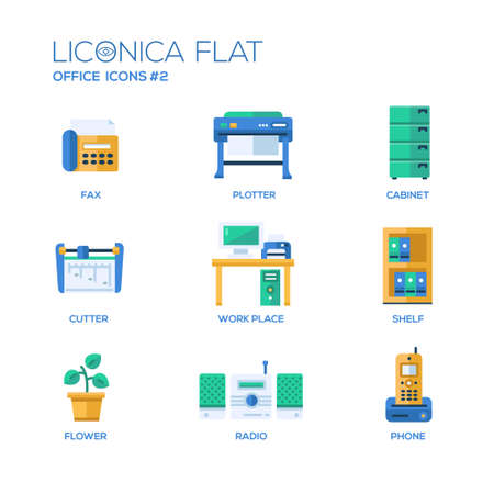 Set of modern vector office flat design icons and pictograms. Collection of business infographics objects and web elements. Vettoriali