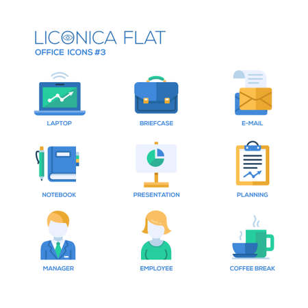 office objects: Set of modern vector office flat design icons and pictograms. Collection of business infographics objects and web elements Illustration
