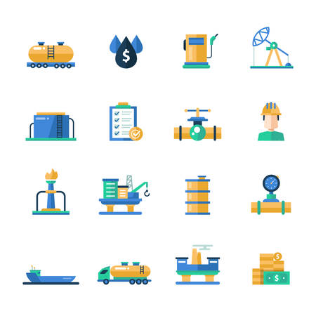 Set of modern vector oil industry flat design icons and pictograms. Collection of oil and gas industry infographics objects and web elements
