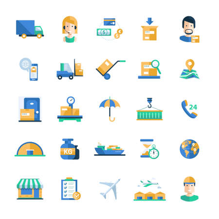 Set of modern vector delivery and logistics service flat design icons and pictograms. Collection of shipping industry infographics objects and web elements