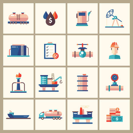 oilwell: Set of modern vector oil industry flat design icons and pictograms. Collection of oil and gas industry infographics objects and web elements