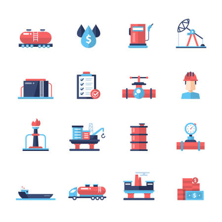 industry design: Set of modern vector oil industry flat design icons and pictograms. Collection of oil and gas industry infographics objects and web elements