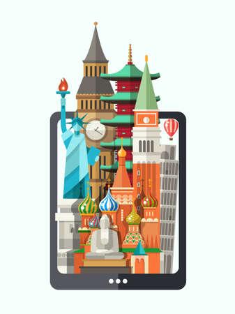 タブレットの画面上の有名な世界のランドマーク アイコンをフラットなデザイン構成のベクトル イラスト