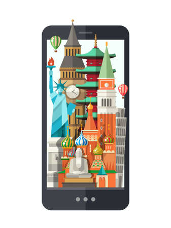landscape architecture: Vector illustration of flat design composition with famous world landmarks icons on a smartphone display screen