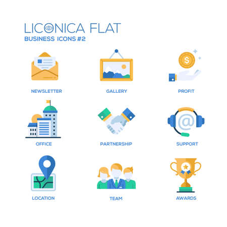 Set of modern vector office thin line flat design icons and pictograms. Stock Illustratie