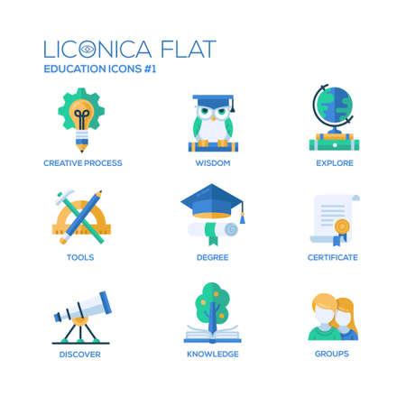 Conjunto de vectores modernos de educación de línea delgada iconos del diseño plano y pictogramas.