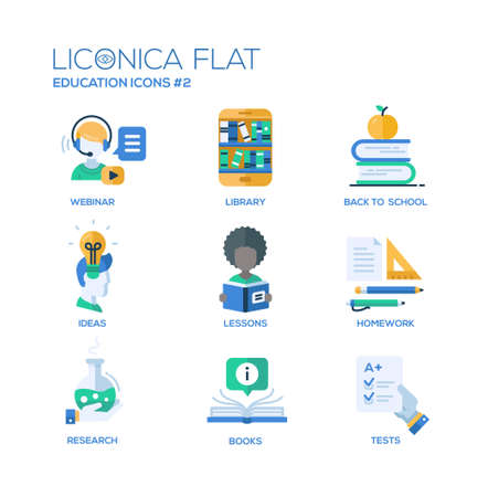 lessons: Set of modern vector education thin line flat design icons and pictograms.