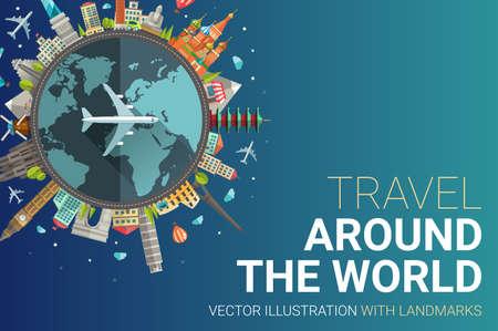 Ilustración vectorial de diseño plano composición del viaje del mundo con lugares famosos de iconos