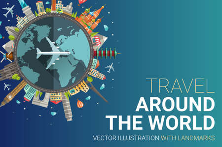 Vector illustration of flat design travel composition postcard with famous world landmarks icons