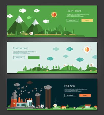 風景: 現代ベクトル フラット デザイン概念の自然で生態学的な風景バナー設定
