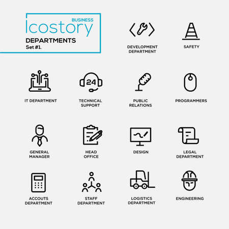Set of modern vector office departments thin line flat design icons and pictograms. Ilustração
