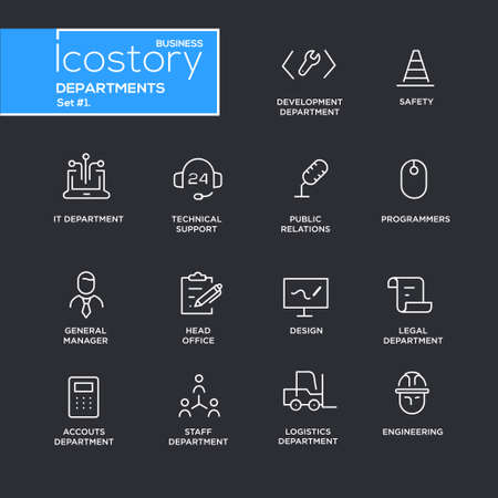 Set of modern vector office departments thin line flat design icons and pictograms. Illustration