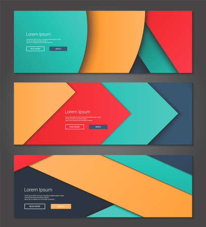 vector banners or headers: Illustration of unusual modern material design vector backgrounds webdesign banners, headers set Illustration