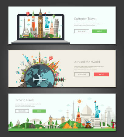 vector banners or headers: Vector illustration of flat design composition with famous world landmarks icons - banners, headers set Illustration