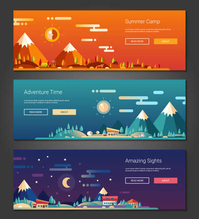 clouds scape: Set of vector modern flat design conceptual landscapes with animals, houses and mountains. Illustrations of beautiful forest scenes. Illustration
