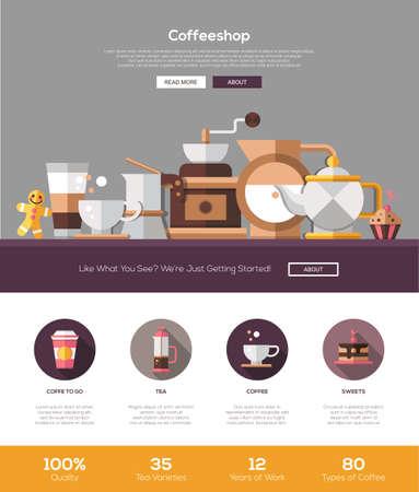 얇은 라인 디자인 헤더, 배너, 아이콘 및 기타 평면 디자인 웹 요소와 커피 숍, 카페 베이커리 한 페이지 웹 사이트 템플릿 레이아웃