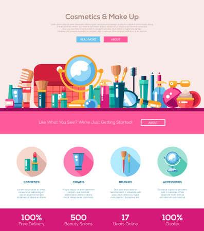 Cosmetici, make up, accessori di bellezza di una pagina di layout modello di sito web con sottile intestazione linea di design, banner, icone e altri elementi di web design piatto