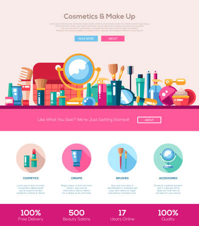 beauty make up: Cosmetics, make up, beauty accessories one page website template layout with thin line design header, banner, icons and other flat design web elements