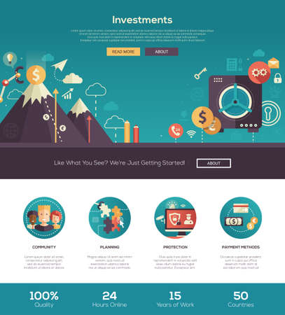 Inversiones y ahorros empresa puesta en marcha, el sitio Web de las finanzas una página web con el diseño de plantilla de cabeza delgada línea de diseño, bandera, iconos y otros elementos de diseño web plana