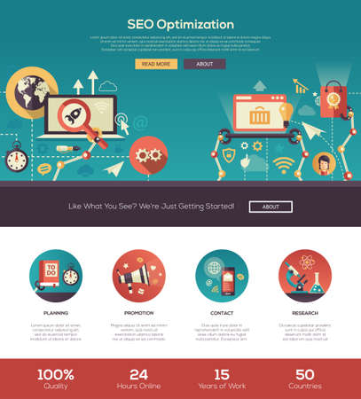 web template: SEO optimization one page website template layout with thin line design header, banner, icons and other flat design web elements