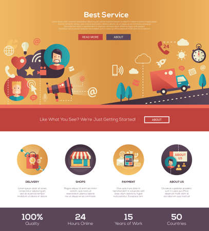 prompt: Best service delivery one page website template layout with thin line design header, banner, icons and other flat design web elements