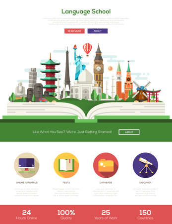 other world: Language online school e-learning one page traveling website template layout with thin line design header, banner, icons and other flat design web elements - world famous landmarks on a book Illustration