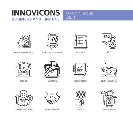 Set of modern vector office, business and finance thin line flat design icons and pictograms, web elements. Hand with cash, phone, invoice, faq, secure, auction, statistics, time is money, businessman, hand shake, insurance, search
