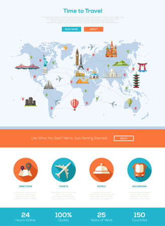 world heritage: Time to travel one page traveling website template layout with thin line design header, banner, icons and other flat design web elements - world map with famous landmarks