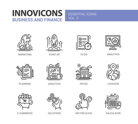 Set of modern vector office thin line flat design icons and pictograms. Marketing, start up, to do list, planning, analytics, office, e-commerce, solutions, pay per click, location, calculator, Vettoriali