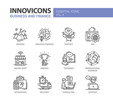 Set of modern vector office thin line flat design icons and pictograms. Collection of business and finance infographics objects and web elements. Mission, creative, process, contact, online, shop, awards, trainings, accounting, delivery, consulting, seo,  Stock Illustratie