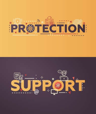 website words: Modern vector lettering words business security banners illustration Protection, Support with thin line design icons and pictograms for website