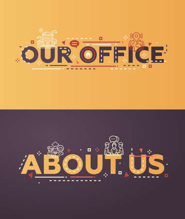 website words: Modern vector lettering words business website banners illustration Our Office, Abou Us with thin line design icons and pictograms, web design elements