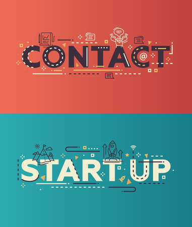 Modern vector lettering words business website banners illustration Contact, Start Up with thin line design icons and pictograms, web design elements