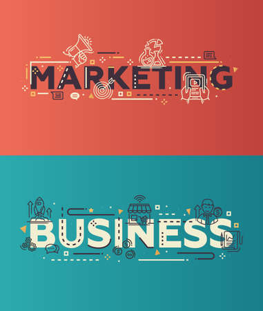 business marketing: Modern vector lettering words business website banners illustration Marketing, Business with thin line design icons and pictograms, web design elements