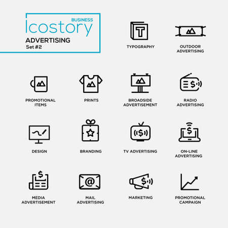 Set of modern vector advertising plain simple thin line design icons and pictograms. Collection of infographics objects and web elements. Typography, outdoor, boadside, media advertising, promotional items, prints, branding, marketing, campaign