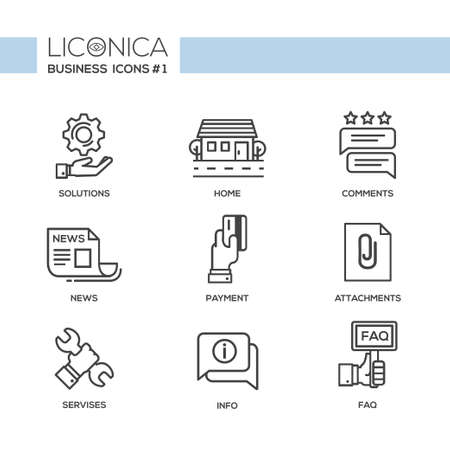 design solutions: Set of modern vector office simple line design icons and pictograms. Collection of business infographics objects and web elements. Solutions, home, comments, news, payment, attachments, services, info, faq
